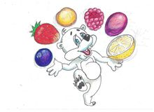 Funny bear with fruits. Funny image bears, eat a variety of fruits Stock Photos