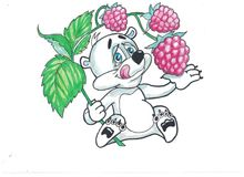 Funny bear with fruits. Funny image bears, eat a variety of fruits Stock Photography