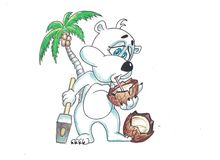 Funny bear with fruits. Funny image bears, eat a variety of fruits Stock Photo