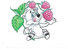 Funny bear with fruits. Funny image bears, eat a variety of fruits Royalty Free Stock Images