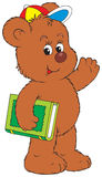 Funny Bear holding the green book Royalty Free Stock Images