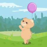 Funny bear with magenta balloon. Cartoon vector  illustration Stock Image