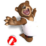 Funny Bear Plays Volleyball Royalty Free Stock Photo