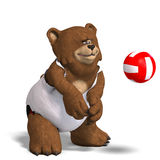 Funny bear plays volleyball Stock Image