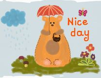 Funny bear sitting on the grass under umbrella.Wishing a nice day. Funny bear sitting on the grass under umbrella. With inscription of wishing good day Stock Photos