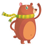 Funny bear waving cartoon. Vector illustration for postcard or decoration. royalty free stock image