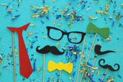 Funny beard, glasses, mustache, tie and bow. Father& x27;s day concept Royalty Free Stock Image
