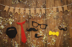 Funny beard, glasses, mustache, tie and bow. Father& x27;s day concept Royalty Free Stock Photo