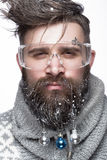Funny bearded man in a New Year`s image with snow and decorations on his beard. Feast of Christmas. Royalty Free Stock Photos