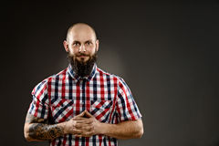 Funny bearded man in shirt Stock Photo