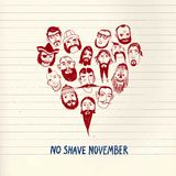 Funny beards illustration for Movember action. Funny vector illustration with beards on different people for No Shave November action. Heart shape. Isolated Royalty Free Stock Photos