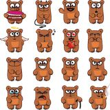 Funny bears (1). 16 smiley bears individually grouped for easy copy-n-paste. Vector Stock Photo