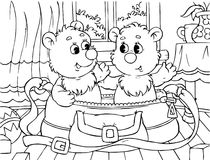 Funny bears. Black-and-white outline (for a coloring book): two small bears sit in a bag stock illustration