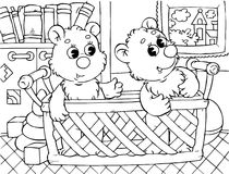 Funny bears. Black-and-white outline (for a coloring book): two small bears sitting in a basket vector illustration