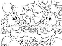 Funny bears with balloons. Black-and-white outline (for a coloring book): two small bears playing with balloons stock illustration