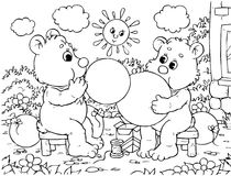 Funny bears blow balloons. Black-and-white outline (for a coloring book): two small bears blowing balloons vector illustration