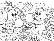 Funny bears blow bubbles. Black-and-white outline (for a coloring book): two small bears blowing soap bubbles vector illustration