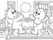 Funny bears bounce a ball. Black-and-white outline (for a coloring book): two small bears playing with a ball in their nursery royalty free illustration