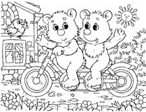 Funny bears cyclists Royalty Free Stock Photography