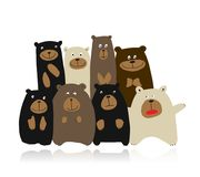 Funny bears family, sketch for your design. Vector illustration royalty free illustration