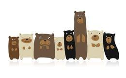 Funny bears family, sketch for your design. Vector illustration stock illustration
