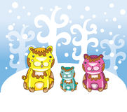 Funny bears at winter Stock Photos