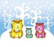 Funny bears at winter Stock Photos