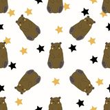 Funny Bears with yellow and black stars royalty free illustration