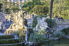 Funny beasts of the Grand Cascade Fountain, Barcelona Royalty Free Stock Image