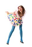 Funny beautiful bizarre girl. Funny beautiful girl in screaming gown Stock Photography