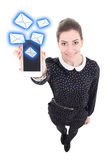Funny beautiful business woman sending messages with mobile phon. E  isolated on white background Stock Photo
