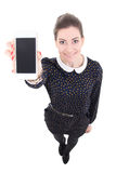 Funny beautiful business woman showing mobile phone with blank s Stock Images