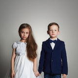 Funny beautiful couple. beauty little girl and boy together Stock Photo