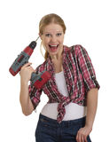 Funny beautiful girl with a drill drills head. Isolated on white background stock image
