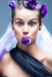 Funny beauty woman with  flower portrait Stock Images