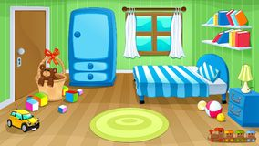 Funny bedroom with toys. Vector cartoon illustration stock illustration
