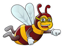Funny bee. Flying Bumblebee; Vector illustration; Isolated Royalty Free Stock Images
