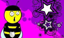 Funny bee cartoon background0 Stock Photography
