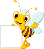 Funny bee cartoon with blank sign Stock Photography
