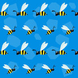 Funny bee. Cartoon bright colored graphic abstract seamless pattern Stock Photo