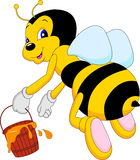 Funny bee cartoon hoding honey Royalty Free Stock Image