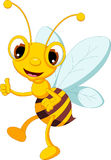 Funny bee cartoon thumb up Royalty Free Stock Photo