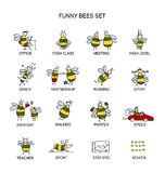 Funny bee collection, sketch for your design Stock Photos