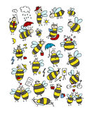 Funny bee collection, sketch for your design Royalty Free Stock Photography