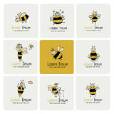 Funny bee collection, sketch for your design Royalty Free Stock Image