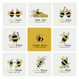Funny bee collection, sketch for your design Royalty Free Stock Photo