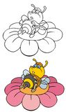 Funny bee. Coloring pages for childrens with funny animals,funny bee vector illustration