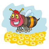 Funny bee. Coloring pages for childrens with funny animals, funny bee stock illustration