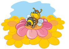 Funny bee. Coloring pages for childrens with funny animals, funny bee vector illustration