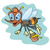 Funny bee. Coloring pages for childrens with funny animals, funny bee royalty free illustration